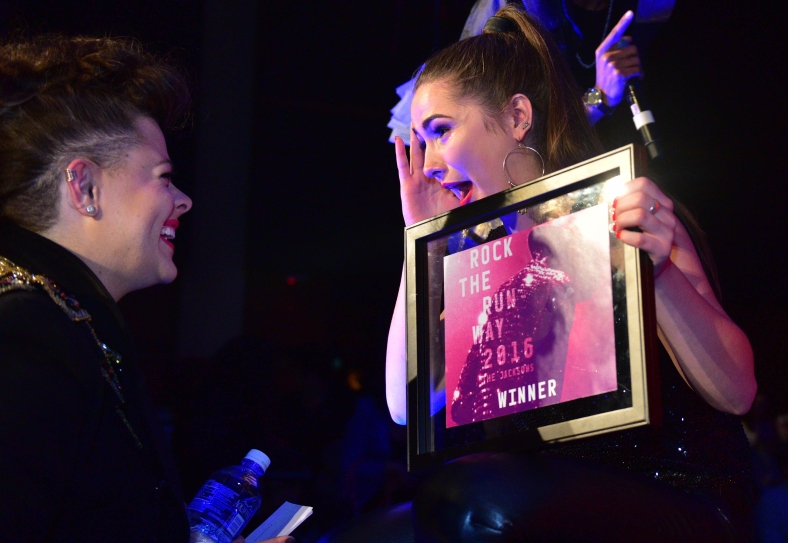 Kelly Nieser talks with one of the Rock the Runway Judges, Mary Beth Wilkins in disbelief after winning the twelth annual Rock the Runway on Saturday, March 5, 2016. Neiser's collection, Rhinestone Revolutionary, won Neiser half a semesters tuition for next fall.