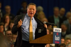 "Nikos Frazier | The Kent Stater ""This is all I've got,"" boasts Gov. John Kasich after winning the Ohio Primary election in the Lou Higgin Recreation Center in Berea, Ohio on Tuesday, March 15, 2016."