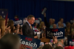 Nikos Frazier | The Kent Stater Gov. John Kasich speaks to a crowd of supporters at the Lou Higgins Recreation Center in Berea, Ohio after winning the Ohio Primary election Tuesday night.